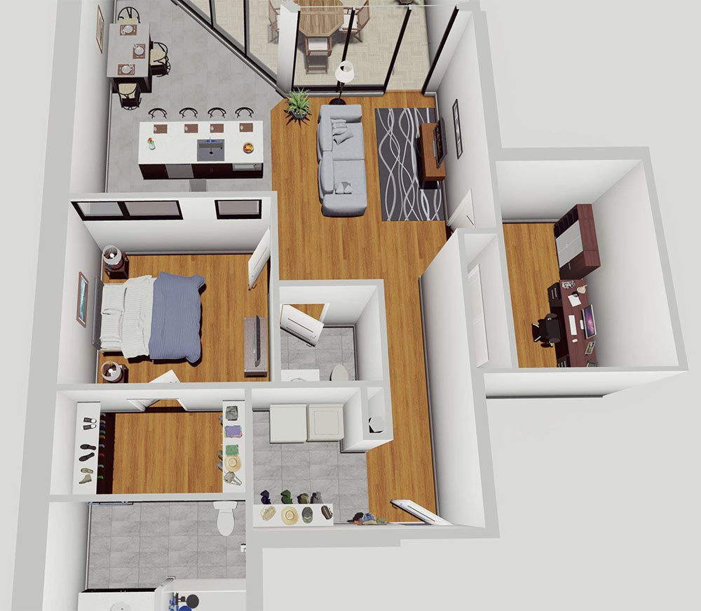 Rendering of 1 BR Apartment with Mud Room & Terrace at the McCarthy Lofts in Troy NY