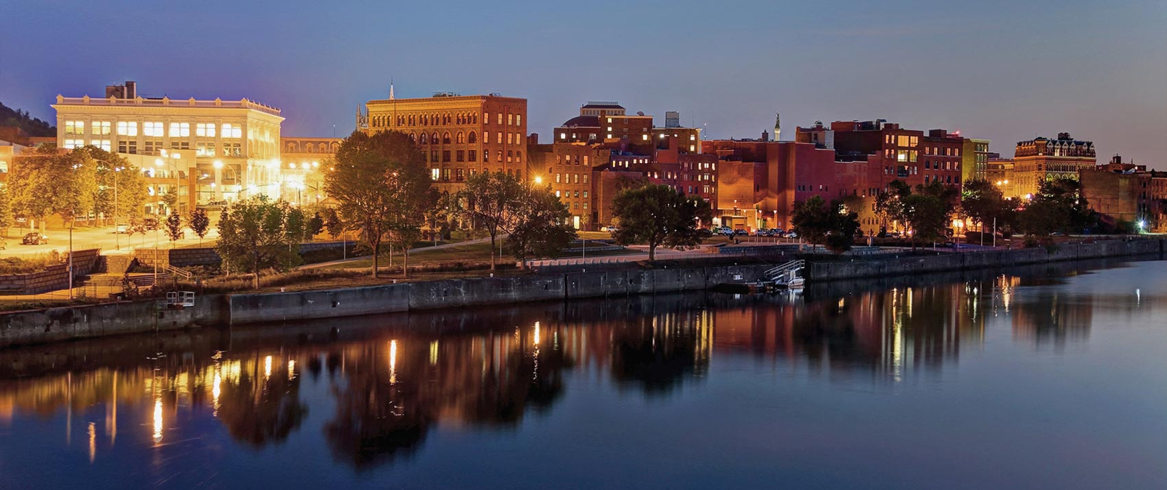 Hudson River and Downtown Troy NY at dusk