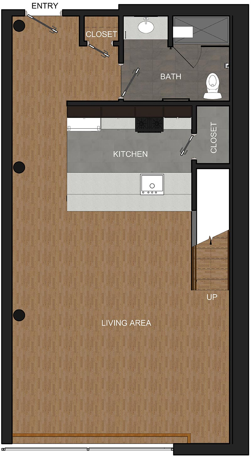 First Floor of Loft Apartment in Troy NY, Floor Plan for McCarthy Lofts
