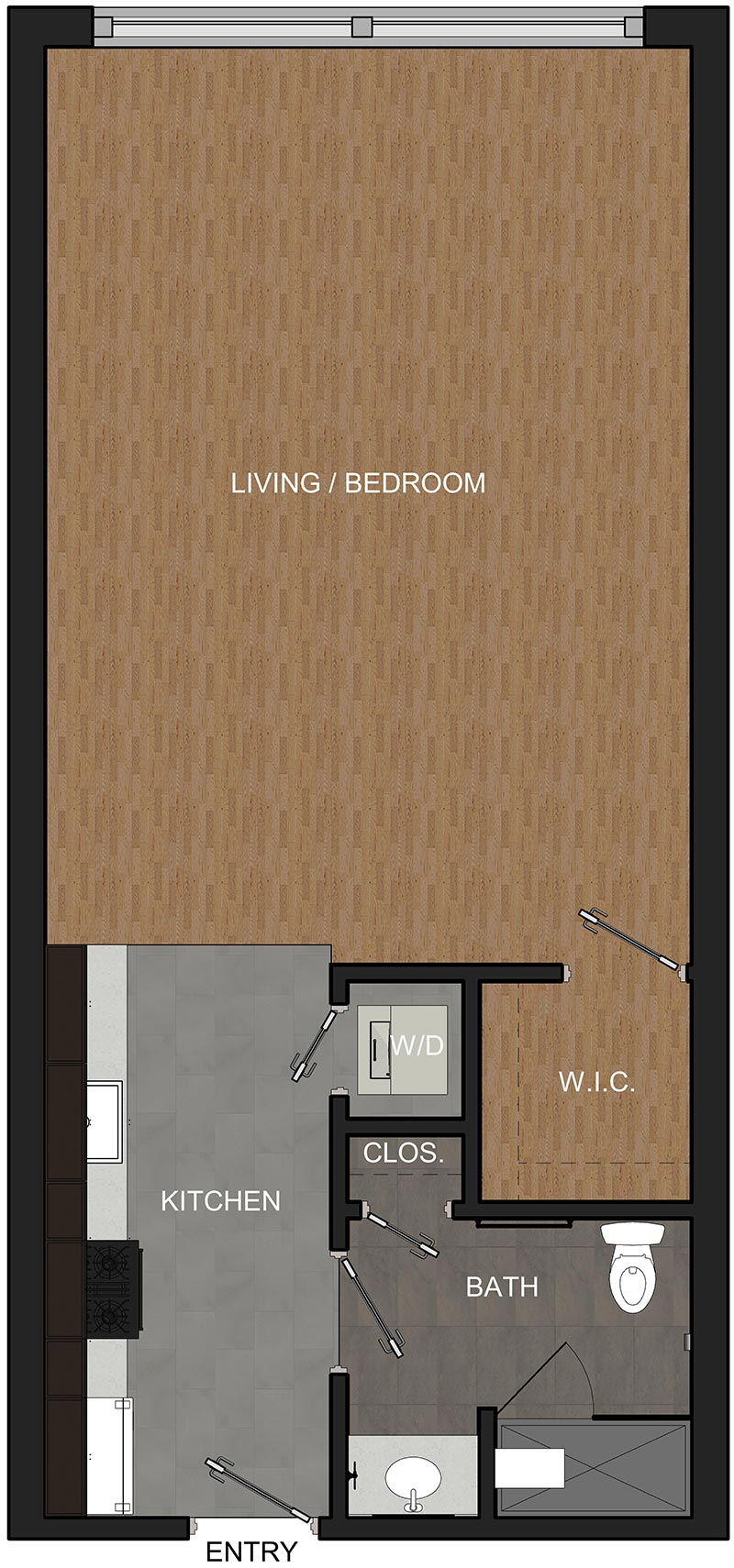 Floor Plan for Studio Apartment in Troy NY in the McCarthy Building