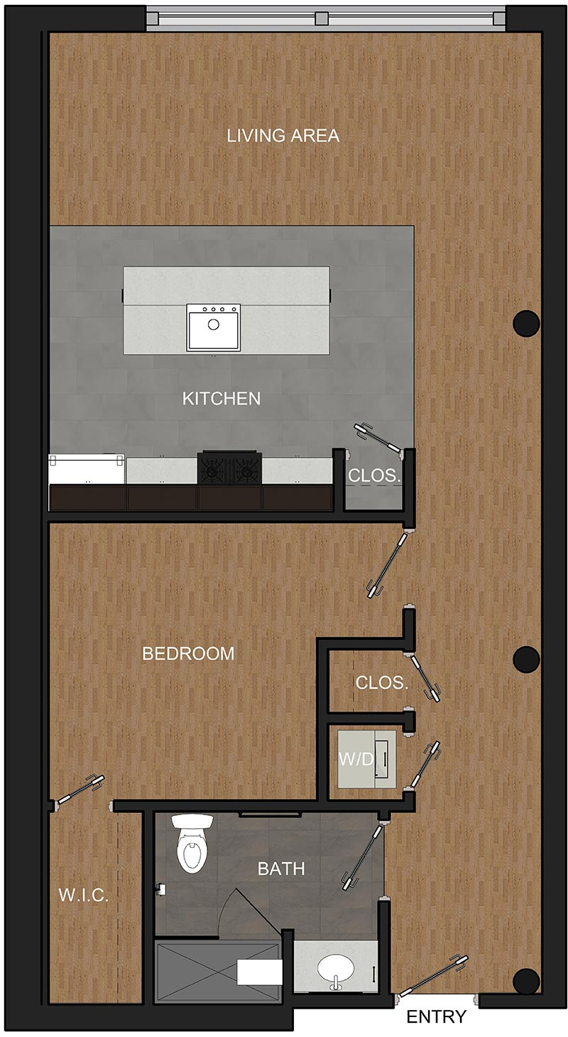 Floor Plan for 1-Bedroom Apartment overlooking Troy's Monument Square