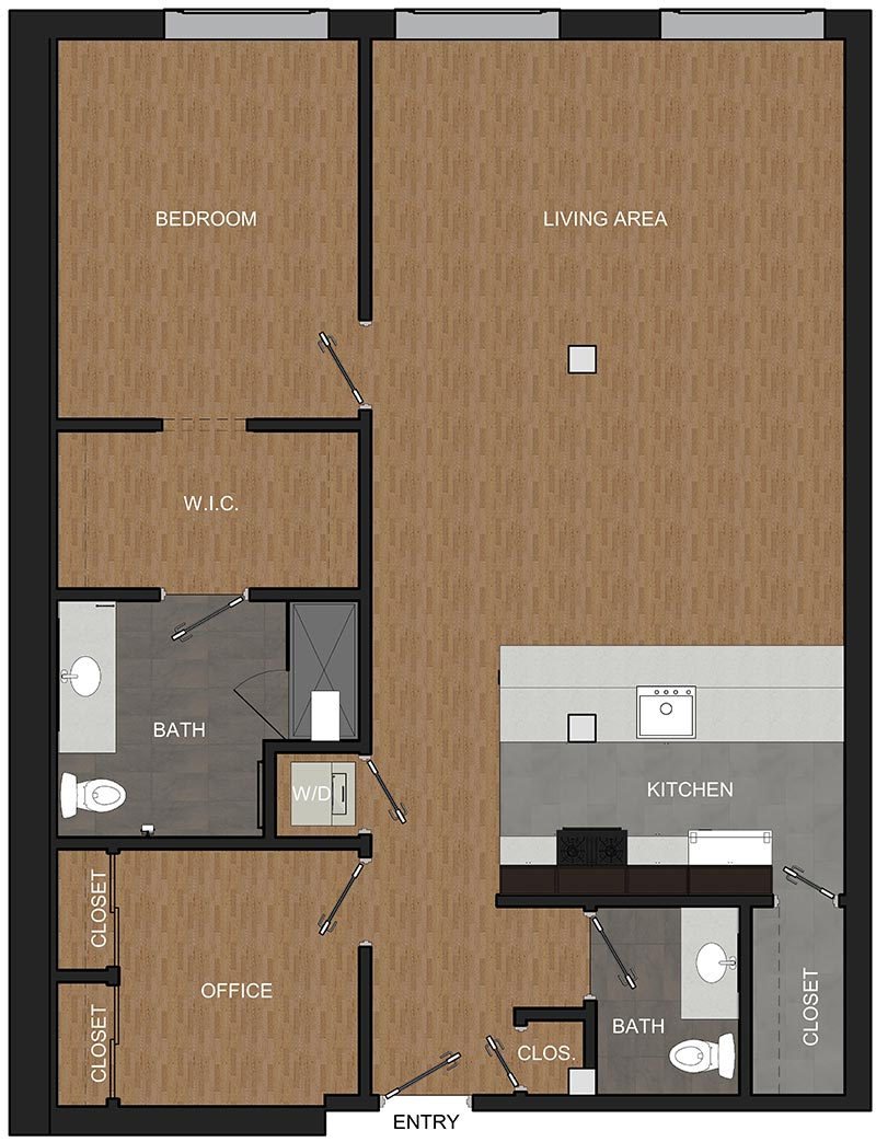 McCarthy Lofts floor plan for a one-bedroom apartment in Troy