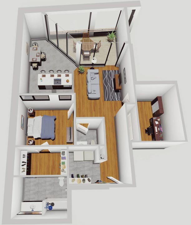 Rendering of 1 BR Apartment with Balcony at the McCarthy Lofts in Troy NY