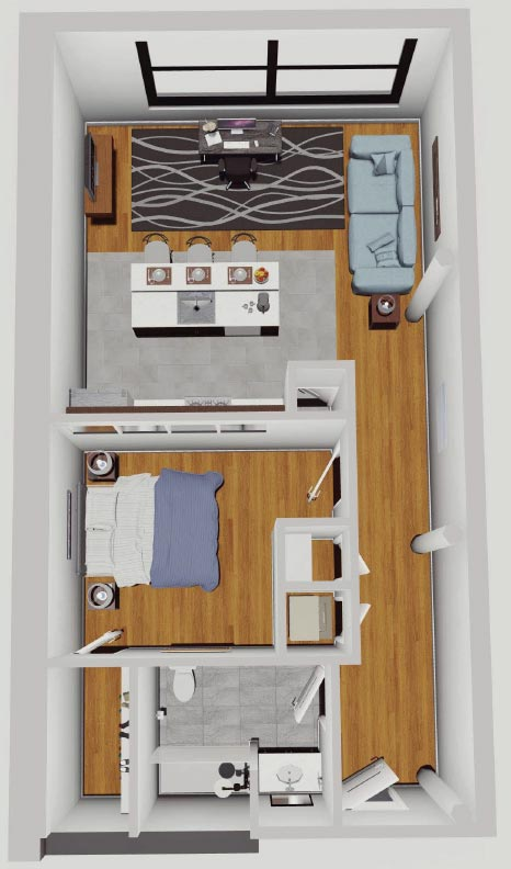 Rendering of 1 BR apartment in the McCarthy Lofts, Troy NY