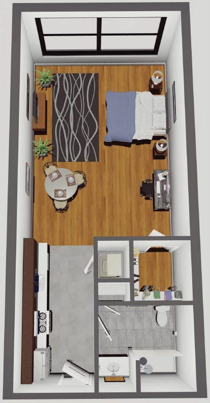 Rendering of Open Floor Plan Studio in the McCarthy Lofts, Troy NY