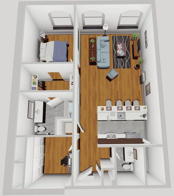 Rendering of Apartment in McCarhy Lofts - 1BR + Den Floor Plan