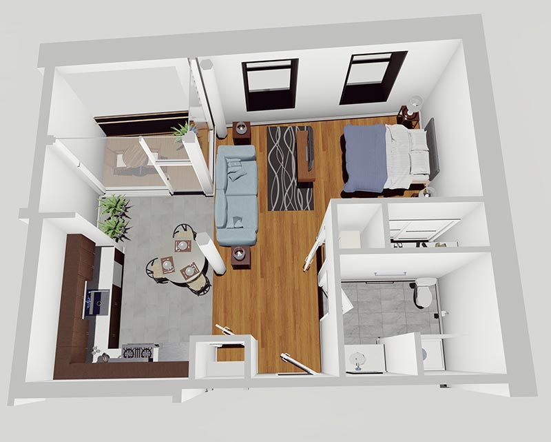 Rendering of Studio Apartment with Terrace in the McCarthy Lofts, Troy NY