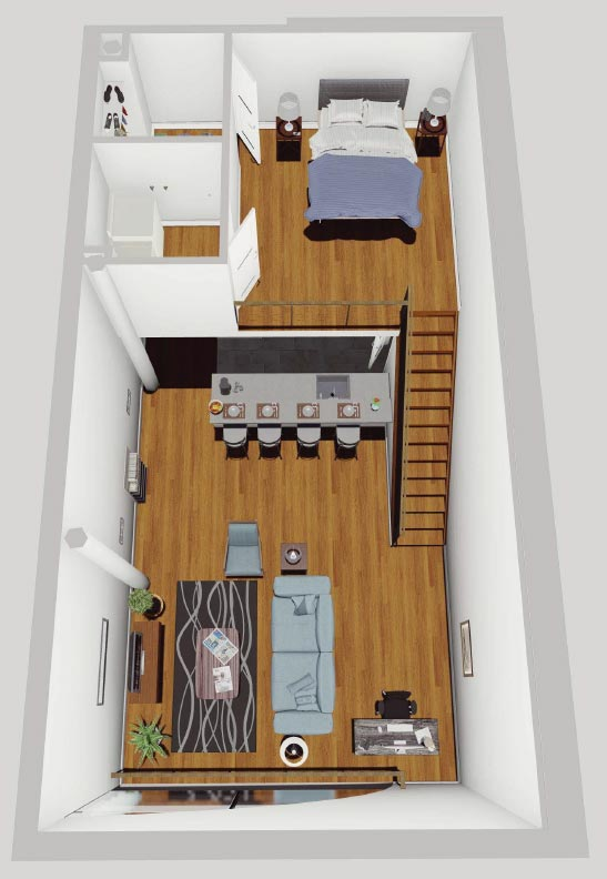 Rendering of a McCarthy Lofts 1-Bedroom Apartment in Troy NY