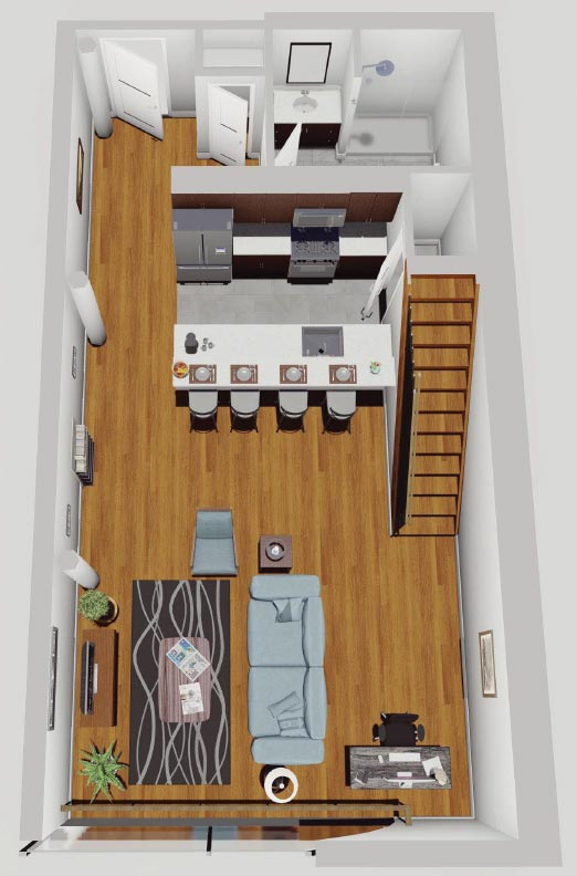 Rendering of First Floor of Loft Apartment, McCarthy Lofts in Troy NY