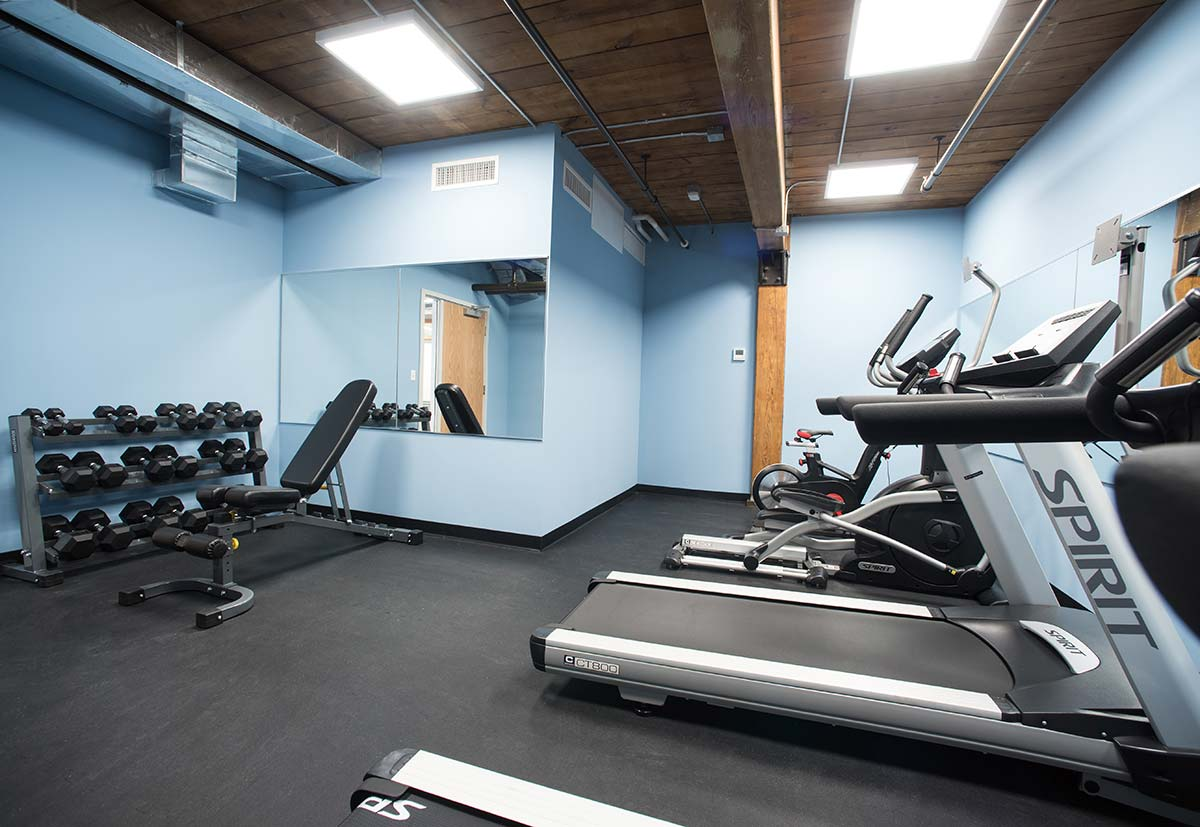 Basement Fitness Center free weights and bench
