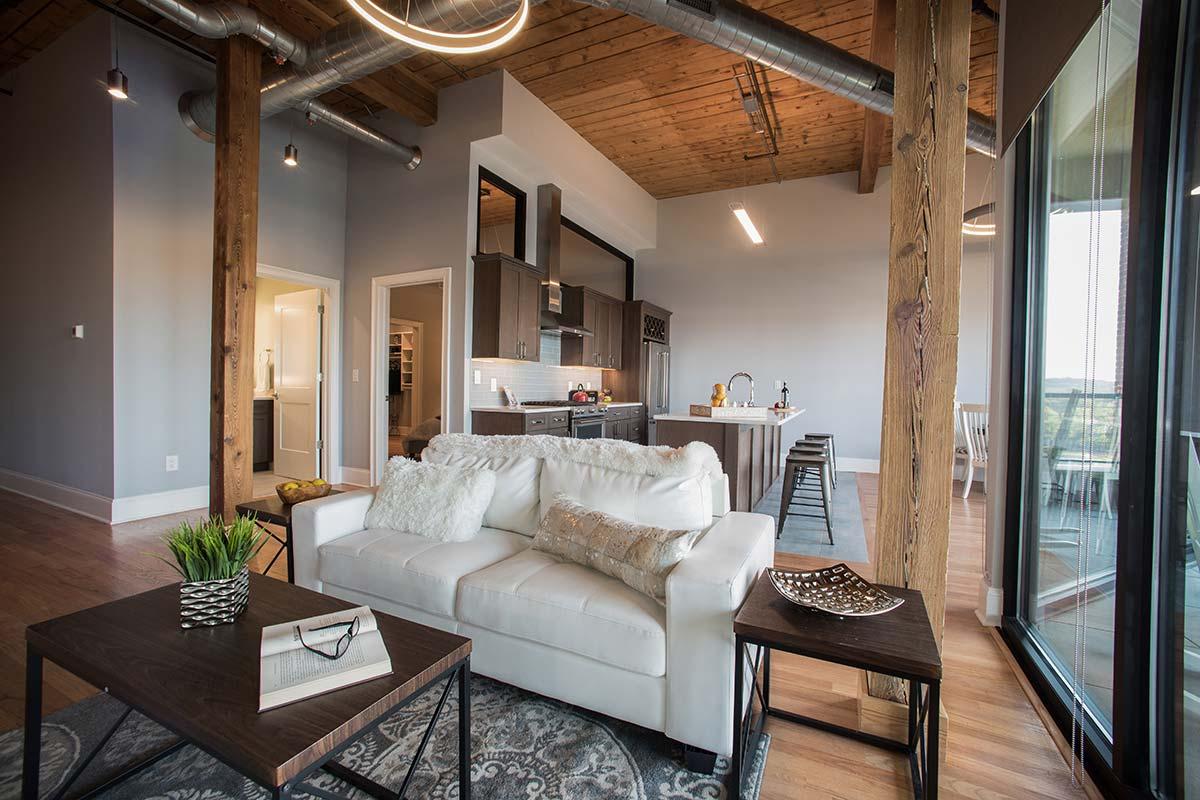 Apartment 501 open floor plan living room and kitchen